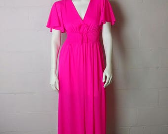 Vintage 60s 70s Bright Pink V Plunge Full Length Nightgown