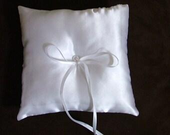 custom made white satin ring bearer pillow