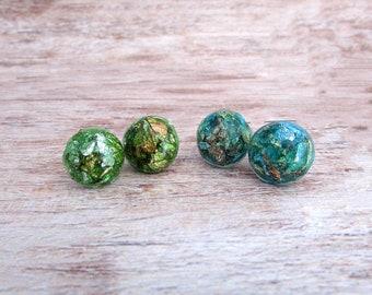 Gold Flake Earrings - Boho Chic Earrings - Resin Stud Earrings - Hypoallergenic - Green Stud Earrings - Girlfriend Gifts Under 20 - Everyday