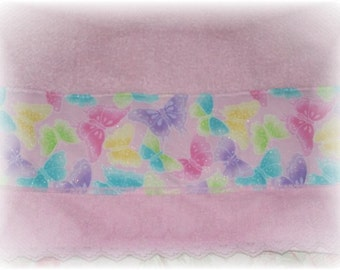 Pastel Florals and Butterflies PINK Decorative Display GUEST Hand TOWEL Great for Kids