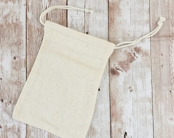 """Muslin Bag, 10x15cm, 4""""x6"""", Plain Cotton Drawstring Pouch, Great for Stamping"""
