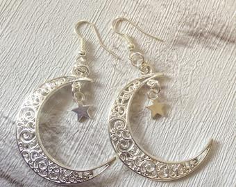 Crescent  Moon Earrings, Moon Earrings, Silver Earrings, Gift for Her, Boho Earrings, Half Moon Earrings, Cosmic Chic, Silver Crescent Moon.