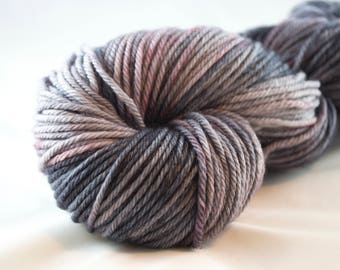 Worsted weight yarn, grey yarn, purple and grey, superwash merino, hand dyed yarn, speckled and variegated, tonal yarn, kettle dyed