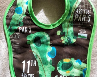 Baby bib BACK NINE / GOLF handmade