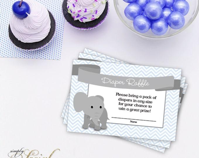 INSTANT DOWNLOAD Elephant Baby Shower Diaper Raffle insert Blue Chevron PRINTABLE