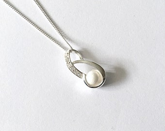 Sterling Silver, Cubic Zirconia and Mountain Jade Necklace