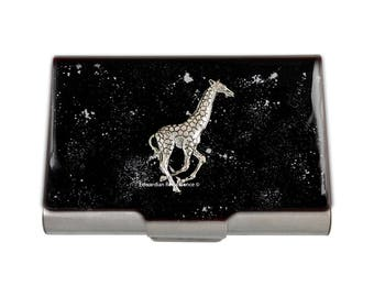 Neo VIctorian Business Card Case Antique Silver Giraffe Embellished on Black Enamel with Silver Splash Design Safari Inspired