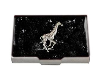 Neo VIctorian Business Card Case Antique Silver Giraffe Embellished on Black Enamel with Silver Splash Design Safari Inspired