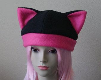 Fleece Cat Hat / BLACK + HOT PINK Beanie Style Cap Cute Anime Neko Cosplay Cat Ears Kitty Ears Kawaii Jrock Goth Punk Japanese Fashion