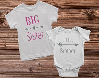 Big Sister Little Brother Shirts, Big Sister Shirt, Little Brother Shirt, Sibling Shirt Sets, Pregnancy Announcement