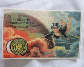 C 1880 Antique Victorian Trade Card Willimantic Thread Spool Cotton