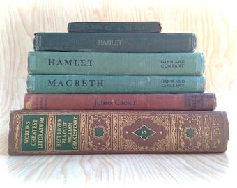 Vintage Shakespeare books antique book collection decorative literary wedding decor home decor photo props decoration Hamlet Macbeth plays
