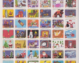 1977 Christmas Seals  Issued by American Lung Association, Full sheet of 54 Seals, Children of America