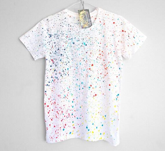 COLOUR SPLASH t-shirt. 100% organic cotton t-shirt for women. Hand painted. Splash. Speckle.