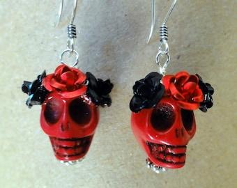 Dia de los Muertos Earrings - Red Skull w/ Black & Red Flowers