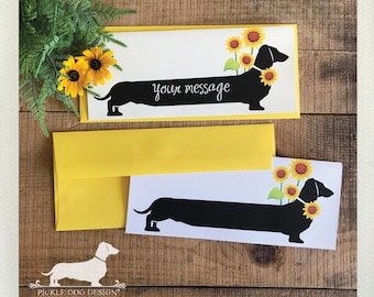 Sunflower Doxie. Note Card -- (Personalized, Flowers, Summer, Get Well, For Mom, Yellow, Dachshund, Vintage-Style, Wiener Dog, Weiner Dog)