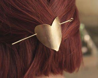 Brass Hair Pin | Modern Hair Stick | Simple Metal Pin | Modern Hair Pin | Hair Fork | Heart Shaped Hair Pin | Hair Barette | Gift For Her