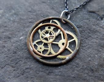 "Watch Parts Necklace ""Errai"" Pendant Recycled Mechanical Watch Gears Intricate Sculpture Wearable Art Steampunk Assembly Gershenson"