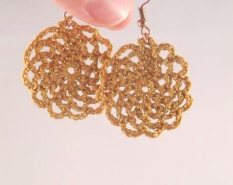 Round Crocheted Earrings, Cotton Earrings, Bohemian Jewelry, Boho Earrings, 2nd Cotton wife Anniversary Gift for her