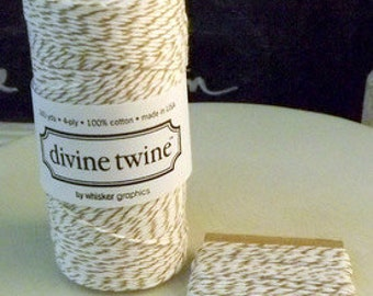 Cotton string Divine Twine Brown Sugar-10 Yards brown white gift wrap craft supply