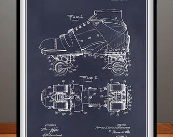 1907 Roller Skate Patent Print, Roller Skate Decor, Roller Skating Art, Roller Skating Gift, Roller Rink Decor, Roller Derby Gift, Sports