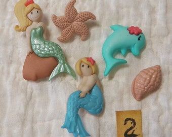 Mermaid buttons Siren Sea Lady