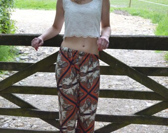 Pure Silk Scarf Print Palazzo trousers by ROSAvelt