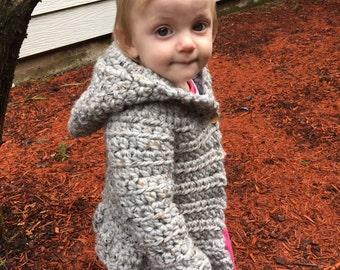 Girl's cardigan, crocheted sweater, girls ruffled cardigan, girls  gift, winter accessory, girl's wardrobe, toddler sweater