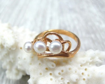 Triple freshwater pearl ring rose gold pearl rings for women Rose gold plated ring size 7 8 pearl jewelry white pearl ring vintage boho ring