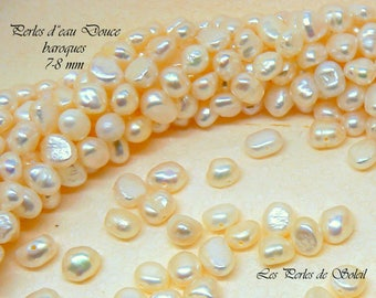 genuine Baroque pearls 7-8 mm white freshwater cultured pearls