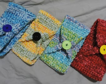 Wide Crochet Headband with Button