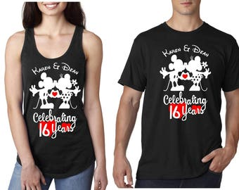 Mickey or Minnie Mouse anniversary shirt