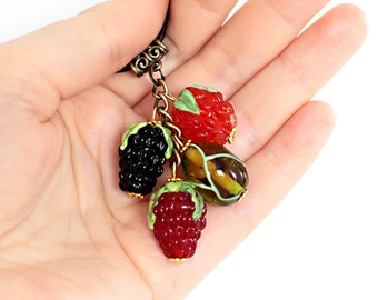 Glass Berries Pendant, lampwork, glass pendant, murano glass, glass berries, glass jewelry, lampwork jewelry