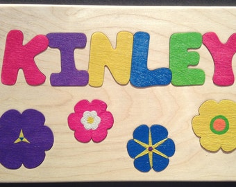 Wooden Custom Name Puzzle - any ONE name & flowers for girls