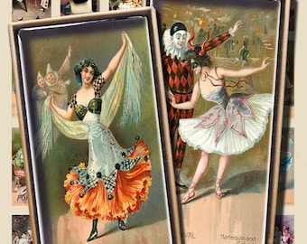20 Images Carnival Girls Pierrot Clowns Domino Shapes 1 by 2 inches Pendants Paper crafts Scrapbook Digital Download Printable Jewelry