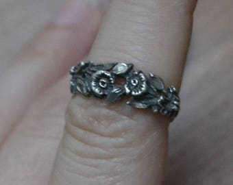 Beautiful antique edwardian art deco rose floral bouquet sterling silver ring / sterling silver flower ring / IUXHRT