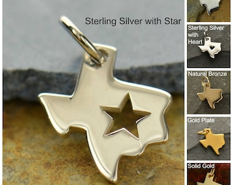 Sterling Silver, Texas State, State Charm, Texas with Heart, Texas Pendant, Silver Texas Jewelry, Heart Jewelry, Texas Heart Charm