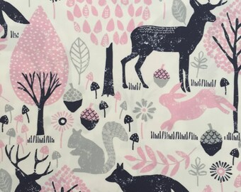 custom baby blanket ~ bubblegum pink/navy woodland animals ~chic couture ~baby accessories ~custom made baby blanket from lillybelle designs