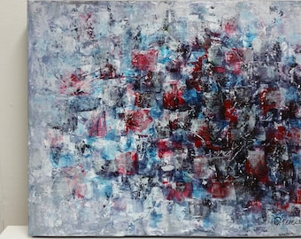 Original abstract painting, acrylic on canvas, contemporary, ice glow, gray, White, cold, 16'' x 20''