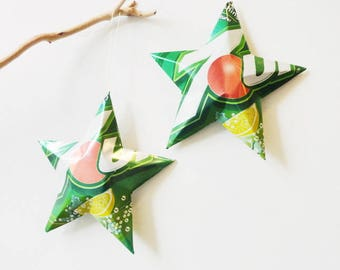 7Up or Diet 7Up Stars Christmas Ornaments Soda Can Upcycled