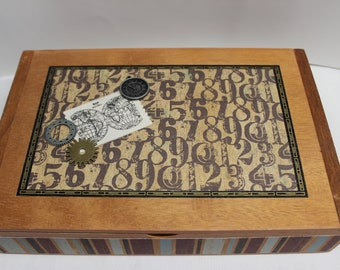 Altered Cigar Box, Decoupage Cigar Box, Father's Day Gift, Man storage box