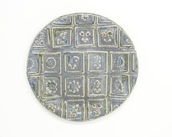 Handmade ceramic sugar cookie side plate | Handbuilt stoneware dessert plate in vintage blue