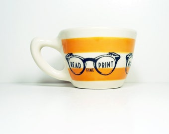 """12oz cup with a retro """"read the fine print"""" print, shown here on creamsicle stripes - Made to Order / Pick Your Colour"""