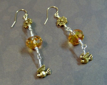 Crystal Earrings - Swarovski Crystal Artisan Earrings with Gold Filled Snowflakes and Doves - Artisan Jewelry - Christmas
