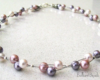Swarovski Pearl Pattern Triple Strand Floating Necklace PDF