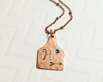 Cow Tag Necklace - Cowgirl Necklace - Initial Necklace - Hand Stamped - Personalized Necklace - Rustic Necklace - Copper Cattle Tag Necklace