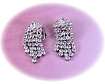 Vintage Crystal Statement Earrings  Rhinestone Earrings Clip On Earrings  Vintage Jewelry Vintage Earrings Wedding Earrings  Brides Earrings