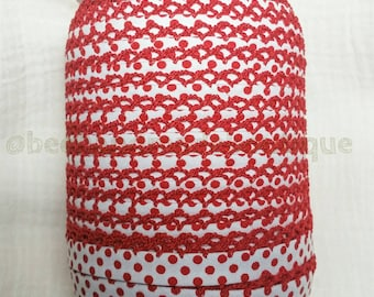 Red Polka Dot Bias Tape - Double Fold Bias Tape - Crochet Bias Tape - Crochet Edge Bias Tape - Picot Bias Tape - Red Dot on White