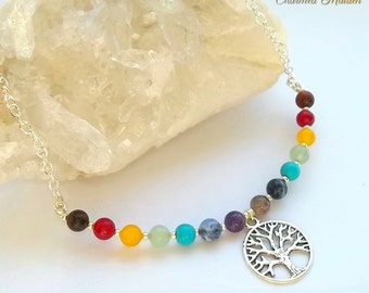 Chakra Necklace, Tree of Life, Chakra Beads, Chakra Jewellery, Rainbow Necklace, Gemstone Necklace, Beaded Necklace, Pagan, Wiccan, Wicca