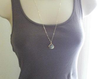 14Kt gold filled labradorite necklace; long gold gemstone necklace; gemstone layering necklace